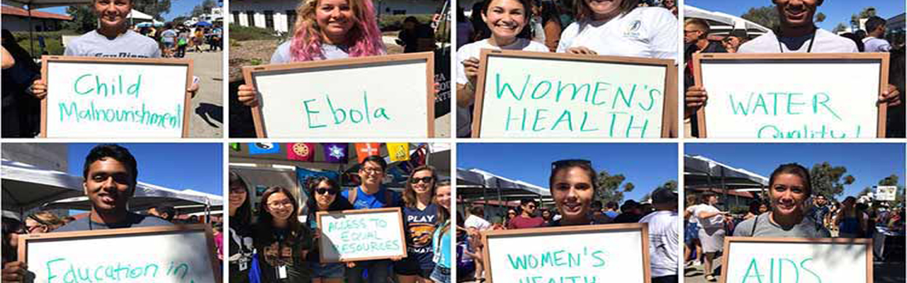 "Thisweek@ucsandiego presents the Global Health Program!  Thanks for those who participated in the campaign ""What Global Health Issue Most Concerns You?"" See more pictures on Facebook."